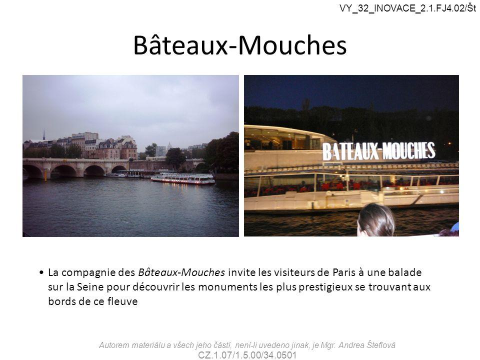 Bâteaux-Mouches La compagnie des Bâteaux-Mouches invite les visiteurs de Paris à une balade sur la Seine pour découvrir les monuments les plus prestig