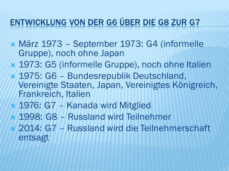  März 1973 – September 1973: G4 (informelle Gruppe), noch ohne Japan  1973: G5 (informelle Gruppe), noch ohne Italien  1975: G6 – Bundesrepublik Deutschland, Vereinigte Staaten, Japan, Vereinigtes Königreich, Frankreich, Italien  1976: G7 – Kanada wird Mitglied  1998: G8 – Russland wird Teilnehmer  2014: G7 – Russland wird die Teilnehmerschaft entsagt