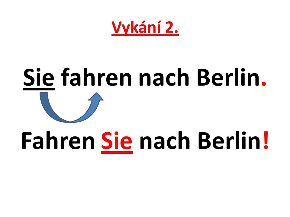 Vykání 2. Sie fahren nach Berlin. Fahren Sie nach Berlin!