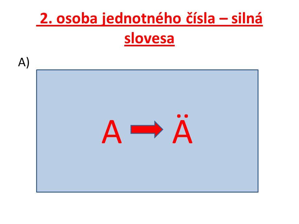 2. osoba jednotného čísla – silná slovesa A) A Ä