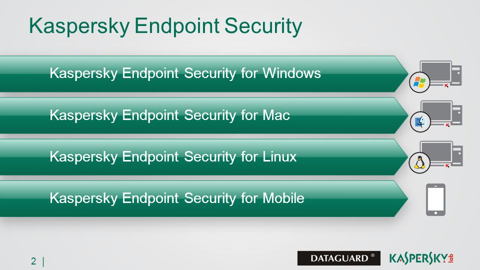 2 | Kaspersky Endpoint Security Kaspersky Endpoint Security for Windows Kaspersky Endpoint Security for Mac Kaspersky Endpoint Security for Linux Kaspersky Endpoint Security for Mobile