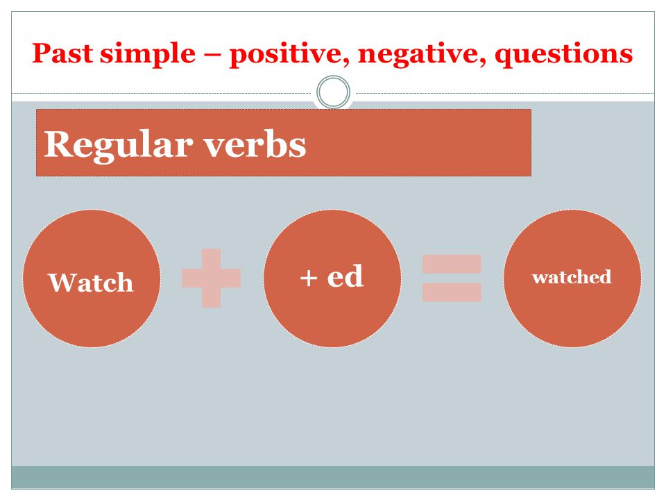 Past simple – positive, negative, questions Watch + ed watched Regular verbs