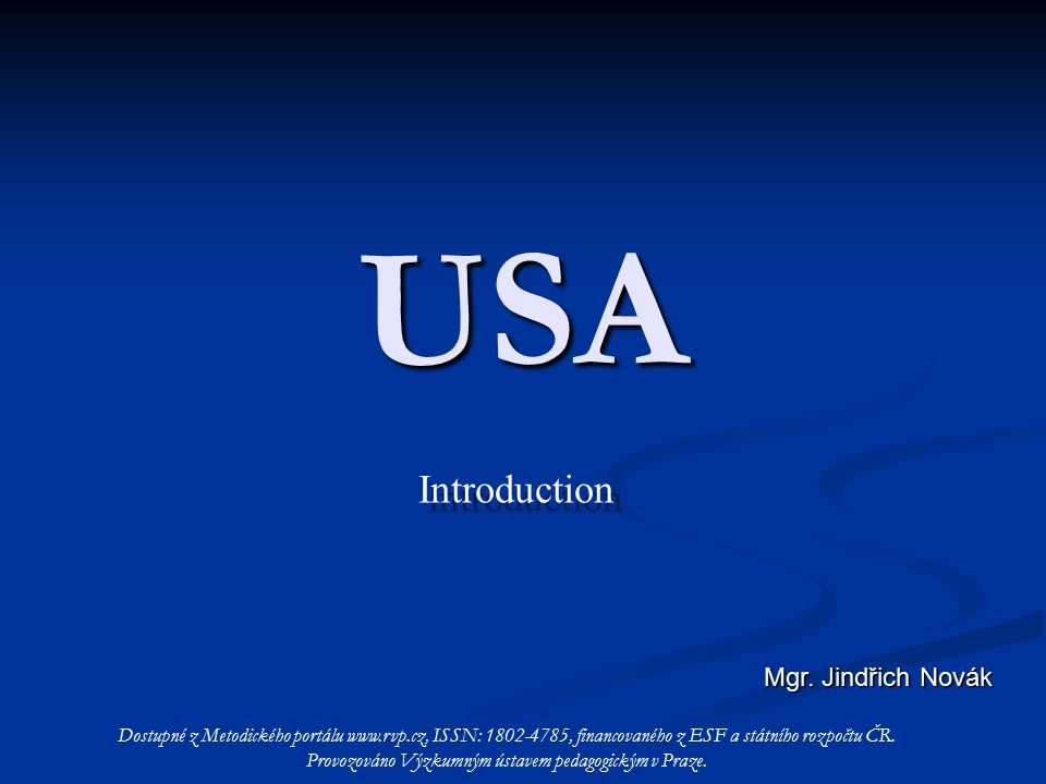 USA Introduction Introduction Mgr.