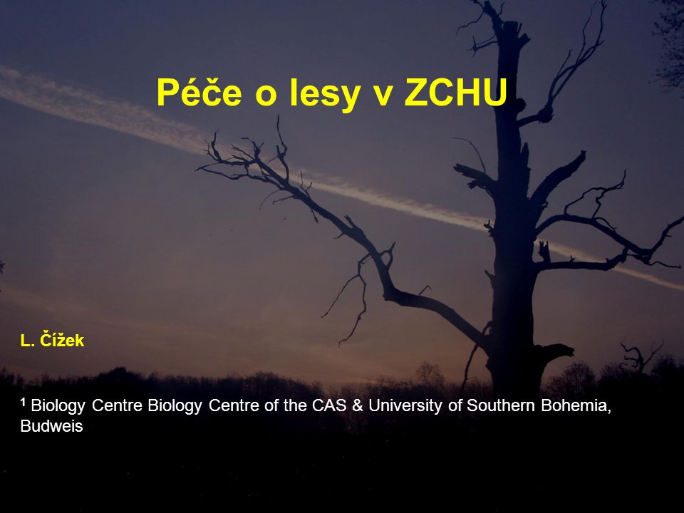 Péče o lesy v ZCHU 1 Biology Centre Biology Centre of the CAS & University of Southern Bohemia, Budweis L.