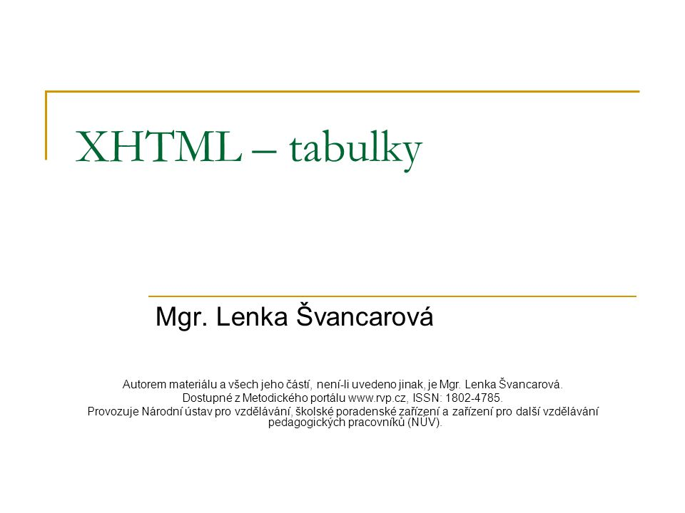 XHTML – tabulky Mgr.