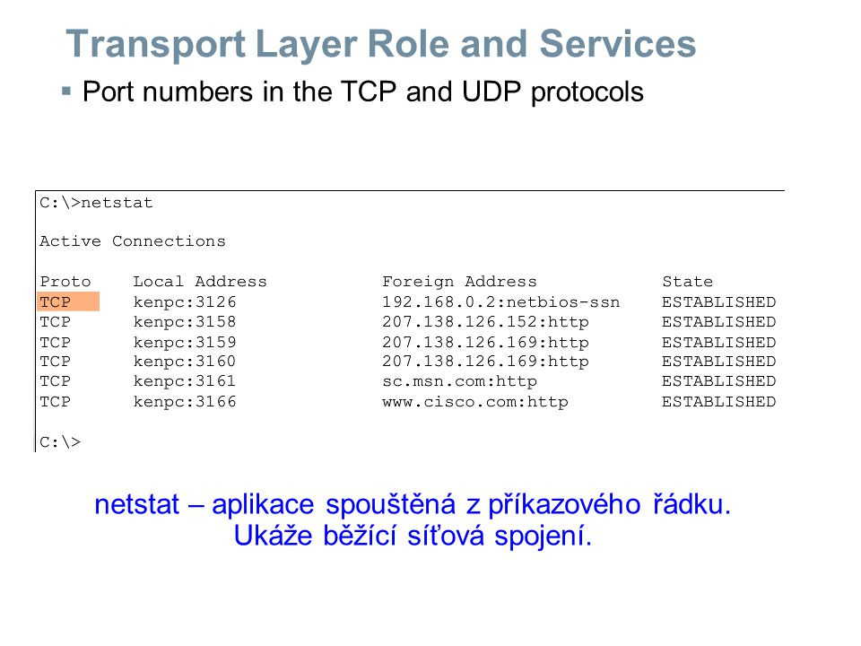 Transport Layer Role and Services  Port numbers in the TCP and UDP protocols netstat – aplikace spouštěná z příkazového řádku.