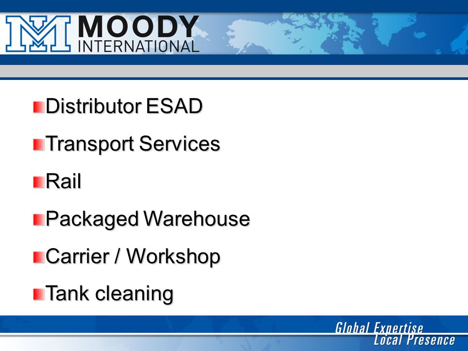 Distributor ESAD Transport Services Rail Packaged Warehouse Carrier / Workshop Tank cleaning