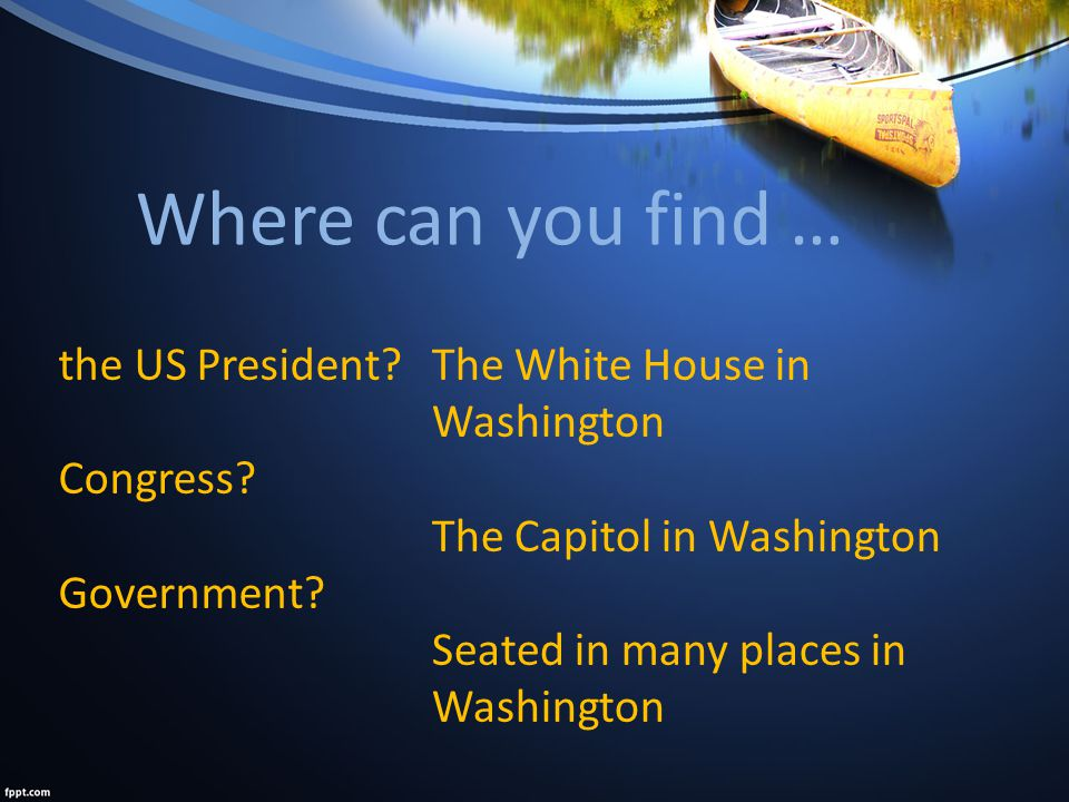 Where can you find … the US President. Congress. Government.
