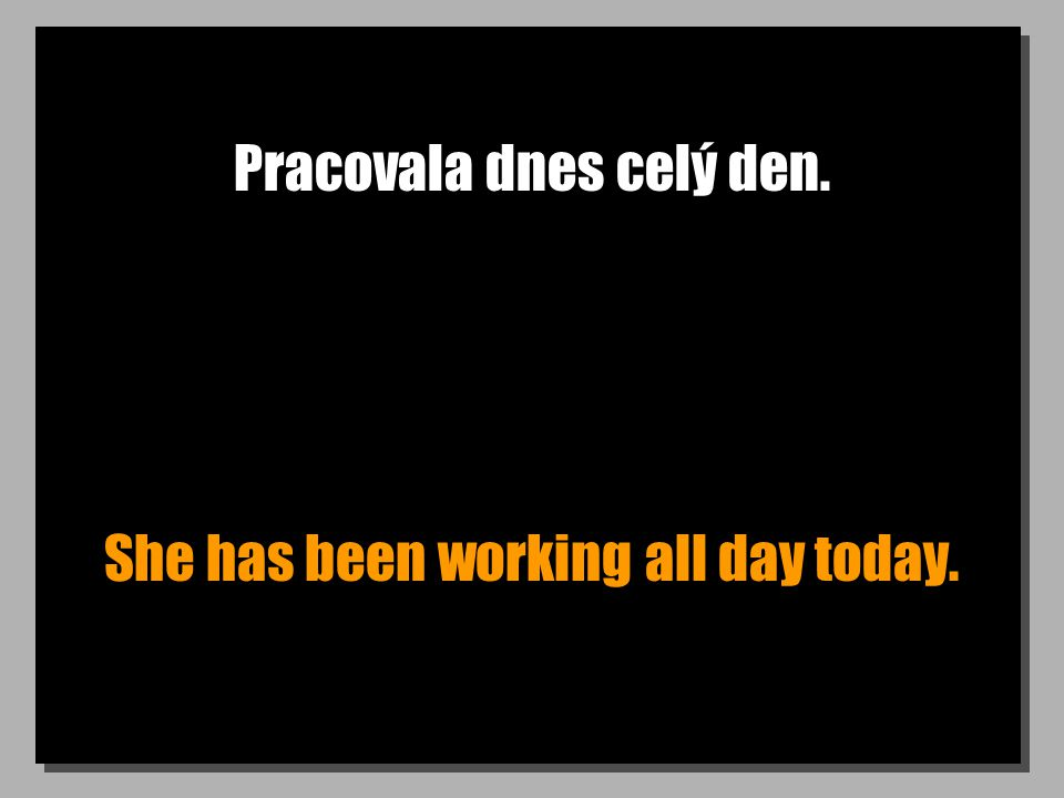 Pracovala dnes celý den. She has been working all day today.