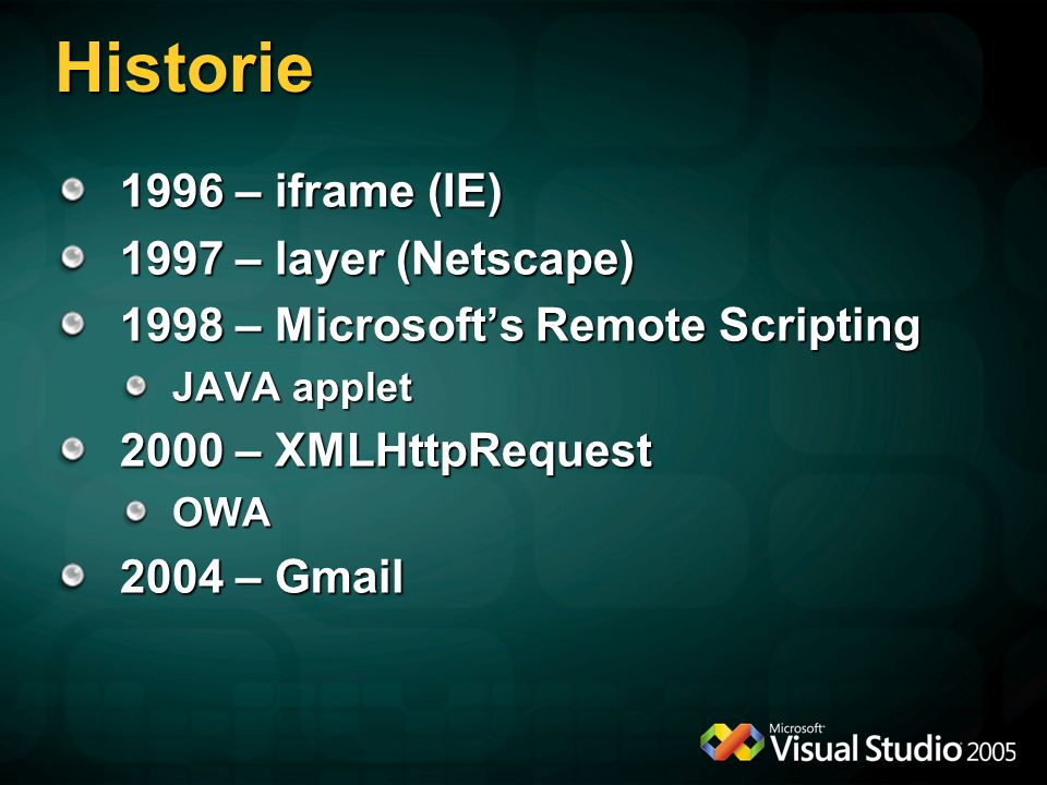 Historie 1996 – iframe (IE) 1997 – layer (Netscape) 1998 – Microsoft's Remote Scripting JAVA applet 2000 – XMLHttpRequest OWA 2004 – Gmail