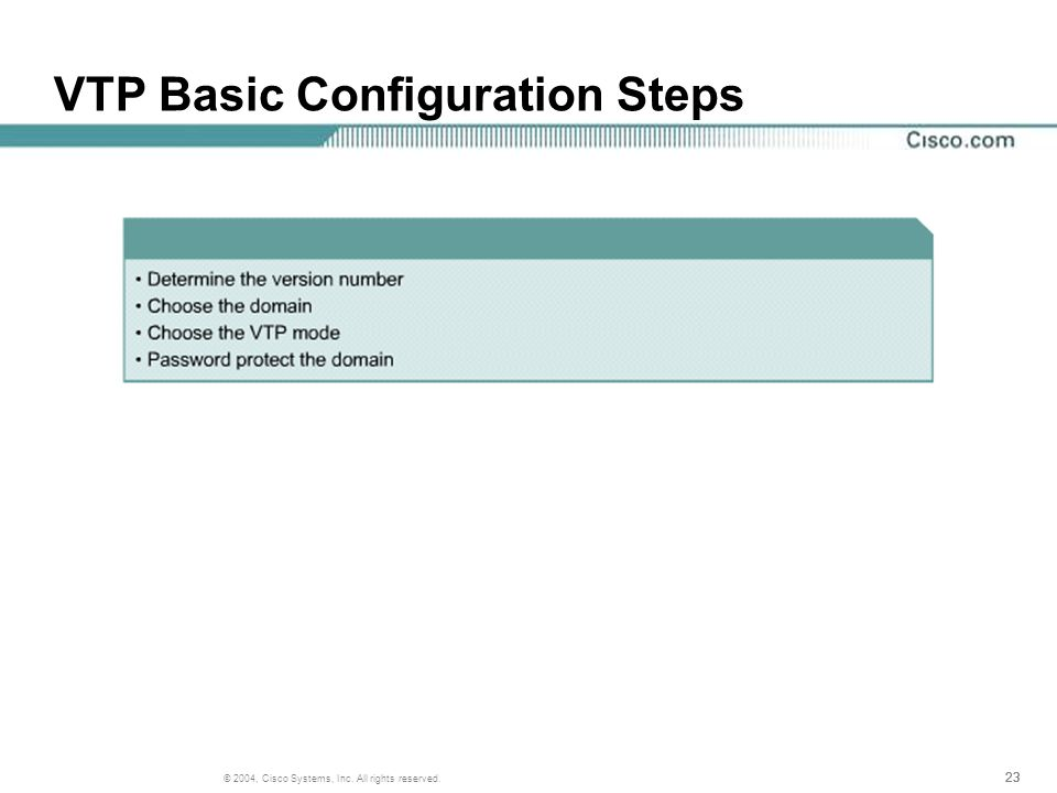23 © 2004, Cisco Systems, Inc. All rights reserved. VTP Basic Configuration Steps