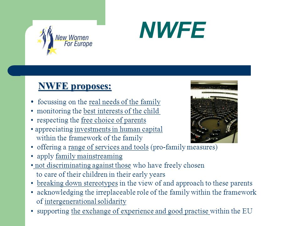 NWFE focussing on the real needs of the family monitoring the best interests of the child respecting the free choice of parents appreciating investments in human capital within the framework of the family offering a range of services and tools (pro-family measures) apply family mainstreaming not discriminating against those who have freely chosen to care of their children in their early years breaking down stereotypes in the view of and approach to these parents acknowledging the irreplaceable role of the family within the framework of intergenerational solidarity supporting the exchange of experience and good practise within the EU NWFE proposes: