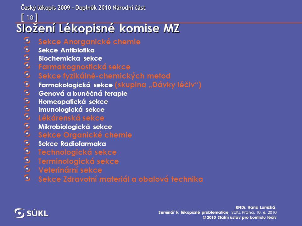 Český lékopis 2009 – Doplněk 2010 Národní část   1   RNDr. Hana ... e32539469a