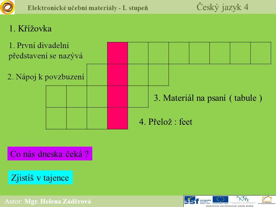 647d197ed7c 1 Elektronické učební materiály - I. stupeň Český jazyk 4 Autor  Mgr. ...