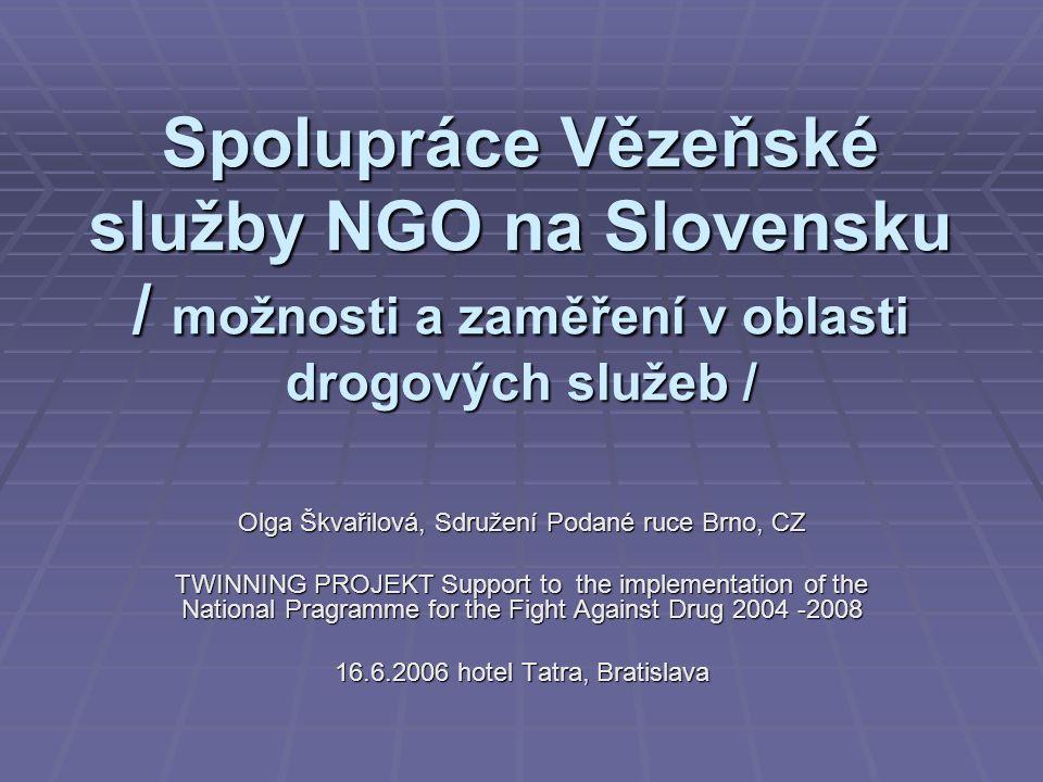 823809e84cf3 1 Spolupráce Vězeňské služby NGO na Slovensku   možnosti a zaměření v  oblasti drogových služeb   Olga Škvařilová