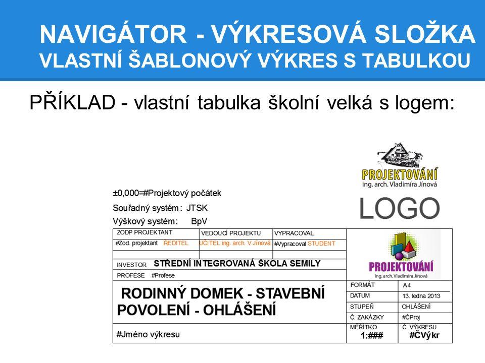 Sp3 Archicad Navigator Vlastni Vykresove Sablony Tabulka Ramecek