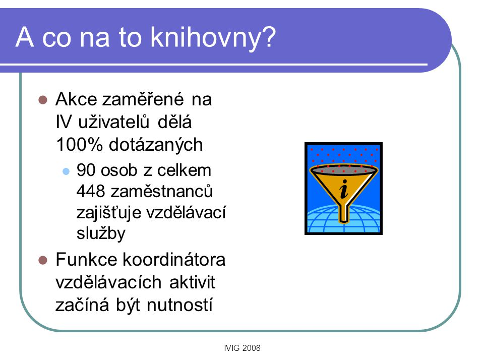 IVIG 2008 A co na to knihovny.