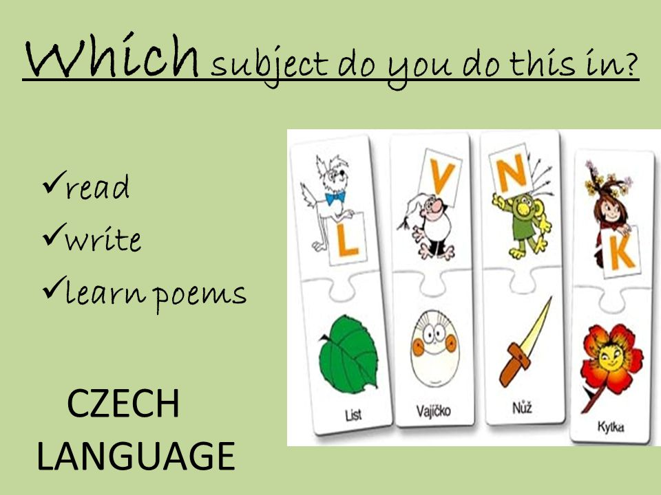 Which subject do you do this in  read  write  learn poems CZECH LANGUAGE