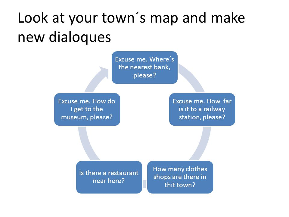 Look at your town´s map and make new dialoques Excuse me.