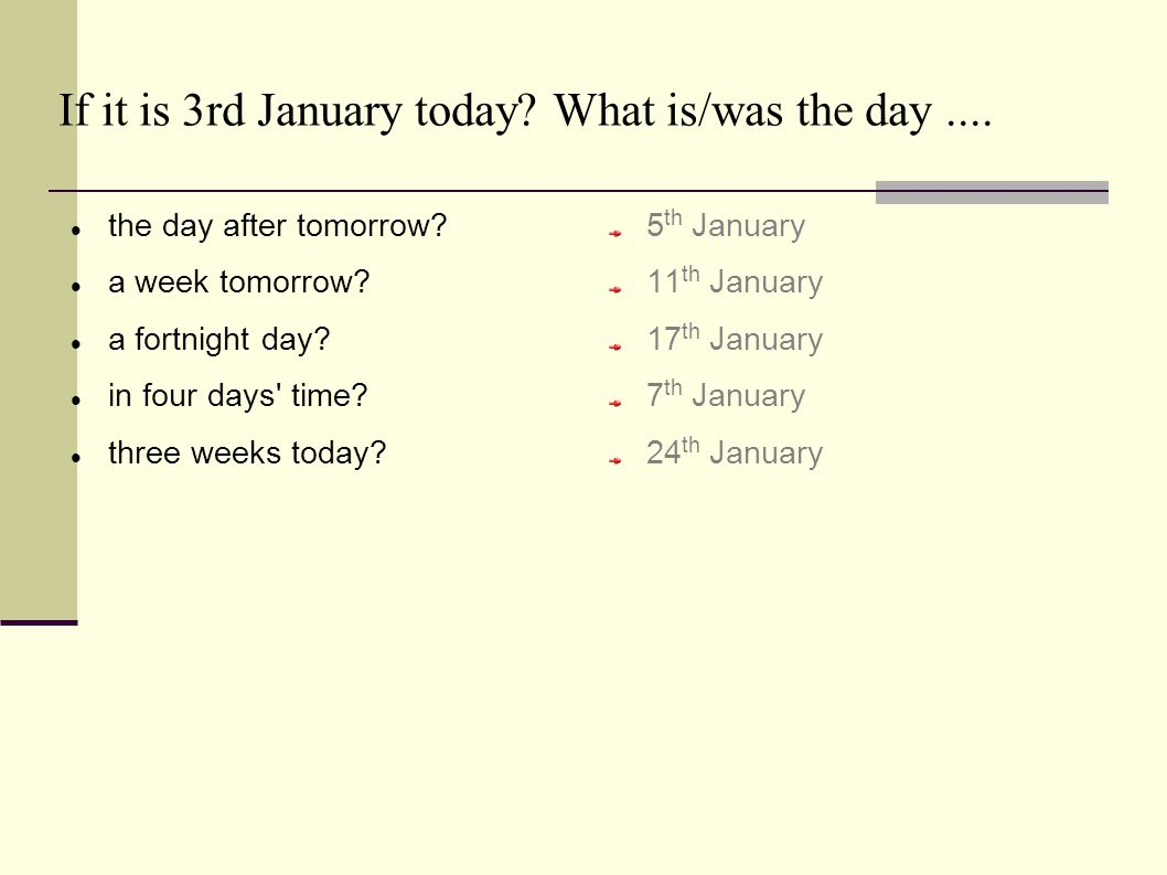 If it is 3rd January today. What is/was the day....