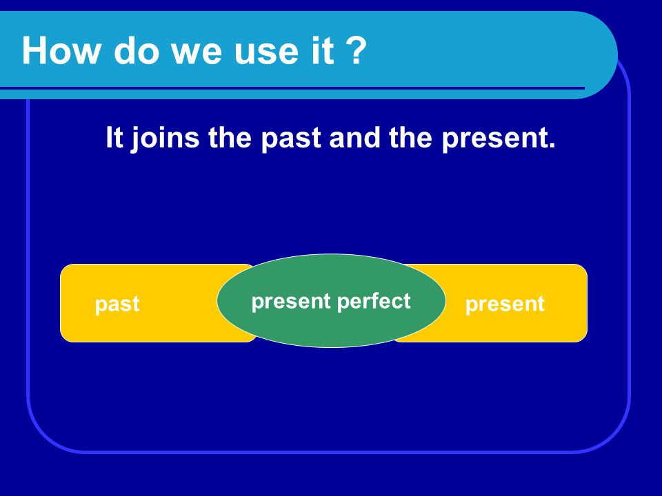 How do we use it It joins the past and the present. pastpresent present perfect