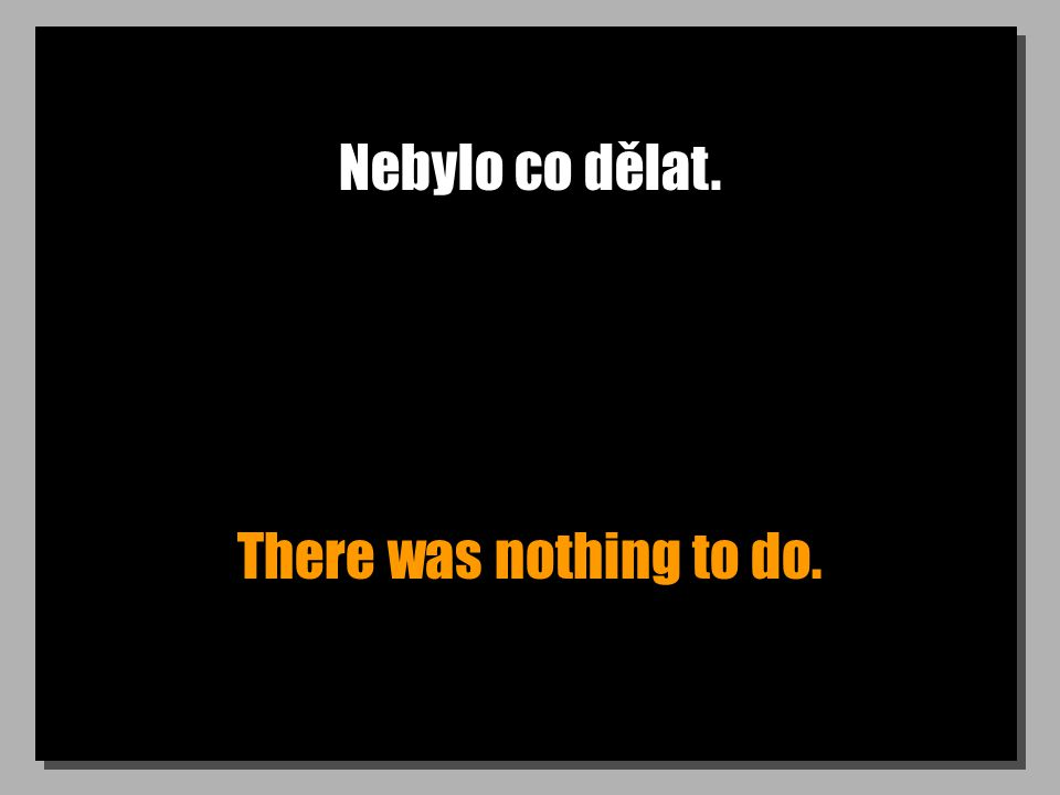 Nebylo co dělat. There was nothing to do.