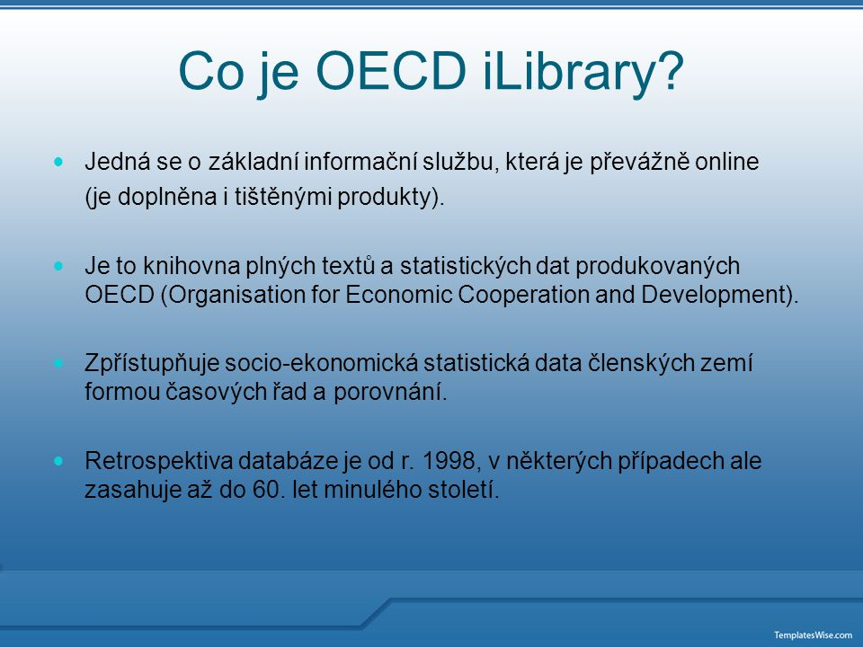 Co je OECD iLibrary.
