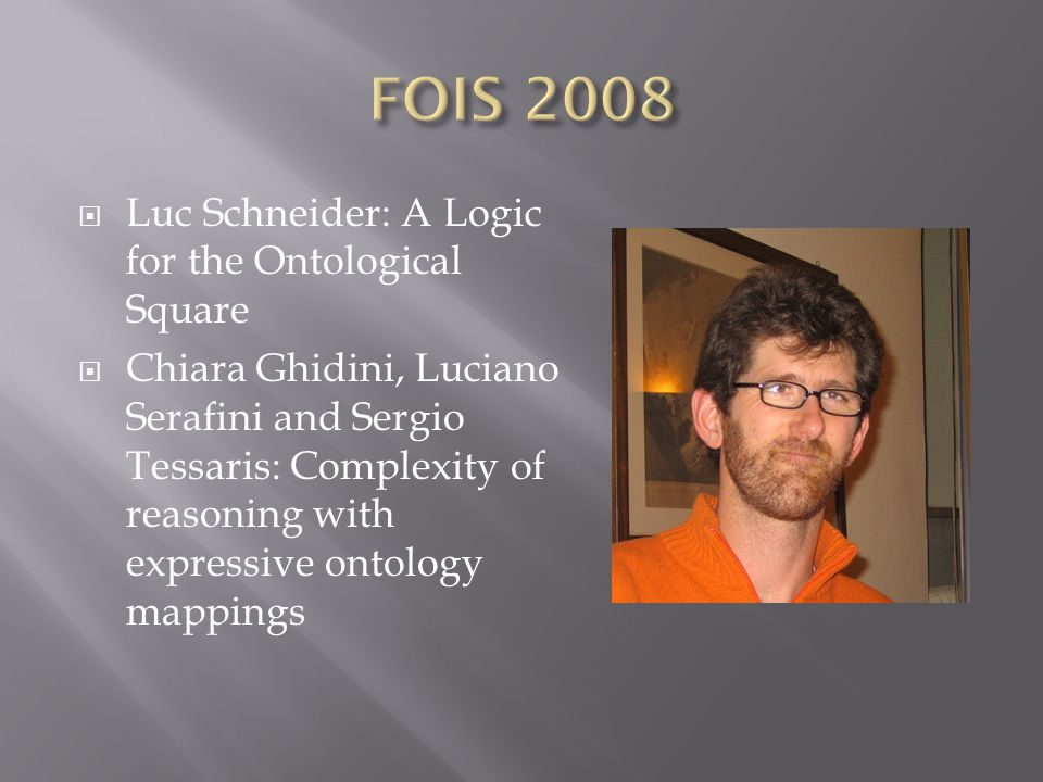  Luc Schneider: A Logic for the Ontological Square  Chiara Ghidini, Luciano Serafini and Sergio Tessaris: Complexity of reasoning with expressive ontology mappings