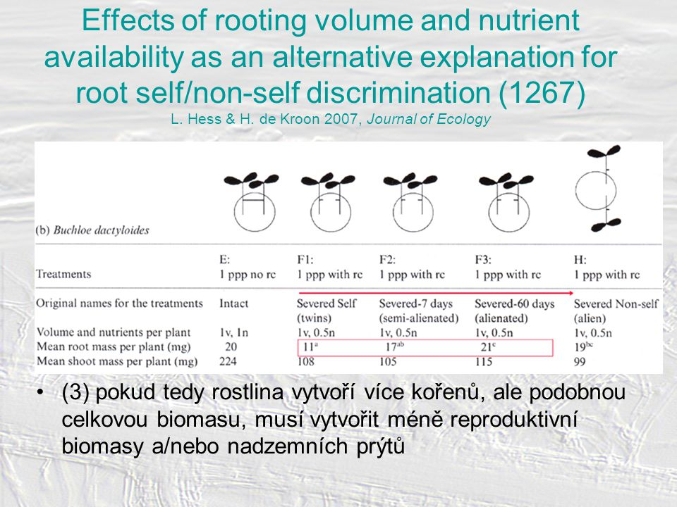 Effects of rooting volume and nutrient availability as an alternative explanation for root self/non-self discrimination (1267) L.