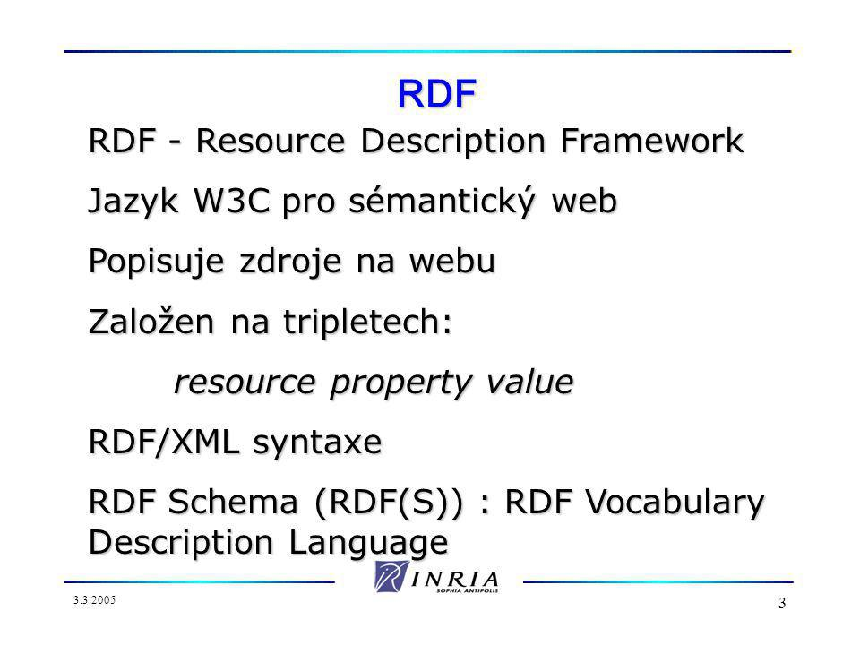 3.3.2005 3 RDF RDF - Resource Description Framework Jazyk W3C pro sémantický web Popisuje zdroje na webu Založen na tripletech: resource property value RDF/XML syntaxe RDF Schema (RDF(S)) : RDF Vocabulary Description Language