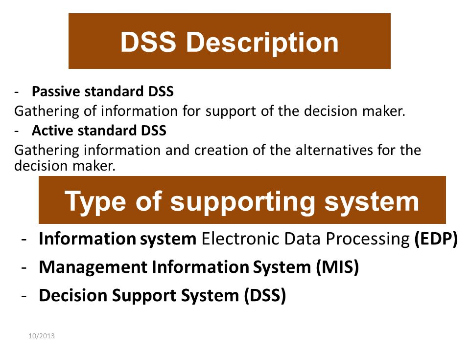 10/2013 DSS Description -Passive standard DSS Gathering of information for support of the decision maker.