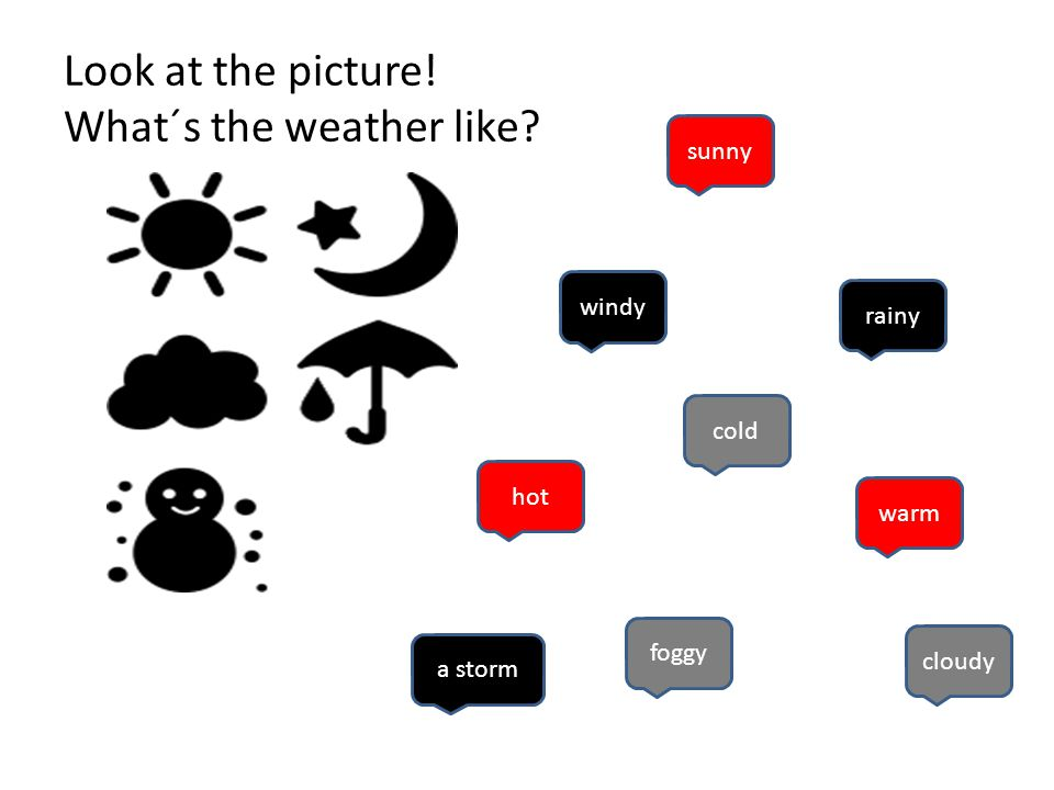 Look at the picture! What´s the weather like sunny windy rainy hot cold foggy cloudy a storm warm