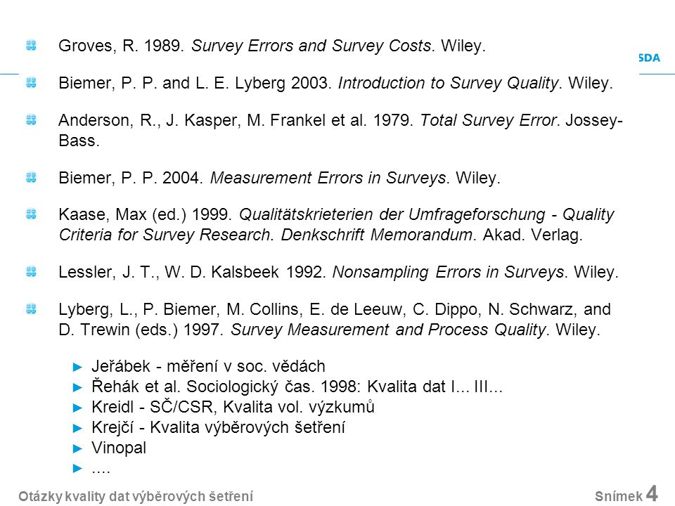 Groves, R. 1989. Survey Errors and Survey Costs.
