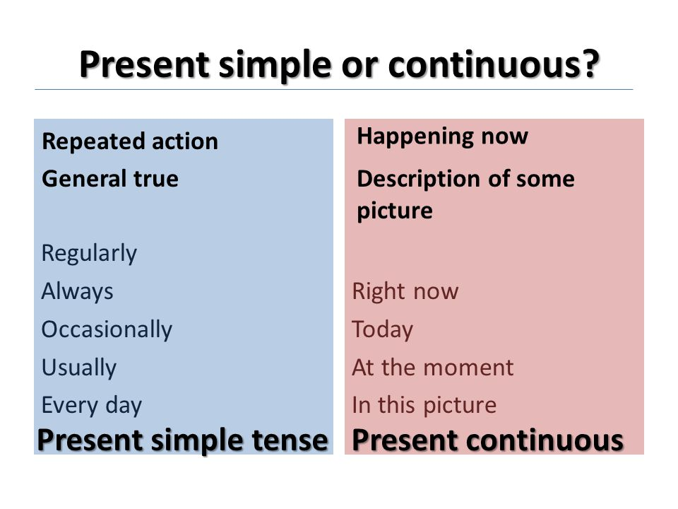 Present simple or continuous.