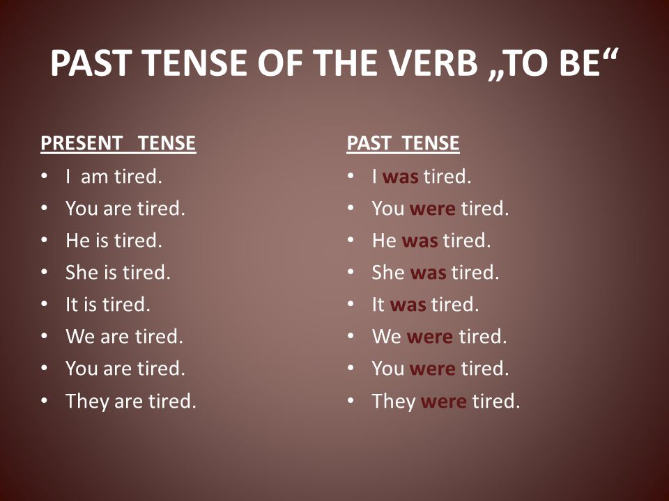 "PAST TENSE OF THE VERB ""TO BE PRESENT TENSE I am tired."