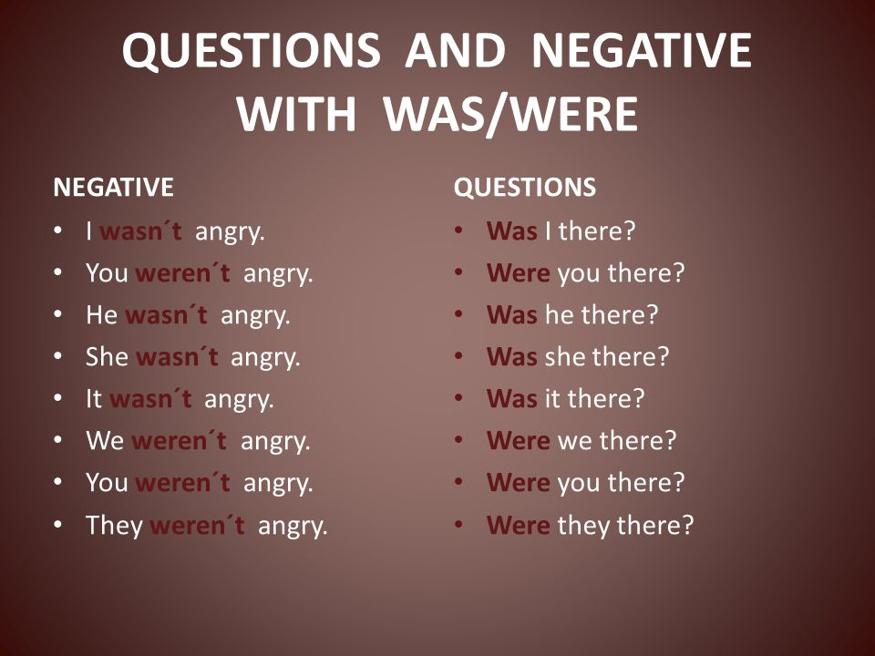 QUESTIONS AND NEGATIVE WITH WAS/WERE NEGATIVE I wasn´t angry.