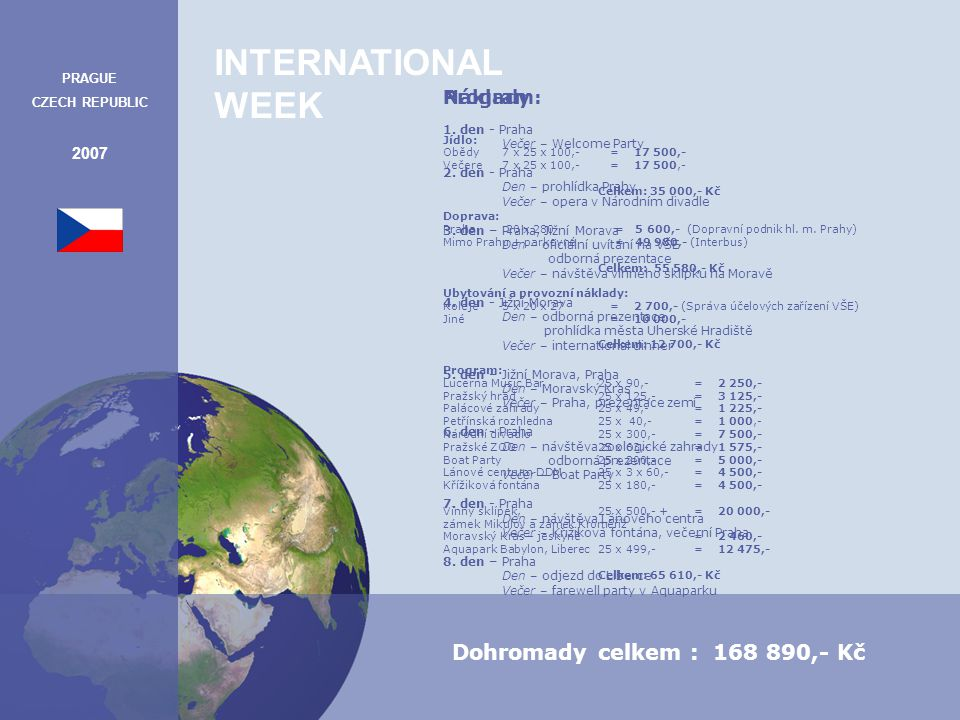 INTERNATIONAL WEEK PRAGUE CZECH REPUBLIC 2007 Program: 1.