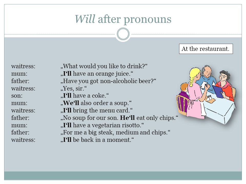 Will after pronouns At the restaurant.