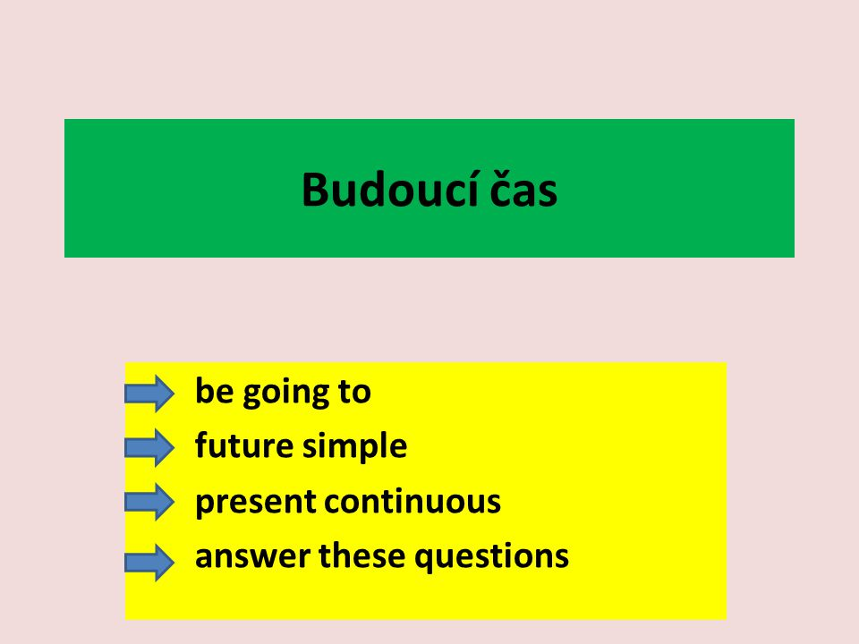 Budoucí čas be going to future simple present continuous answer these questions
