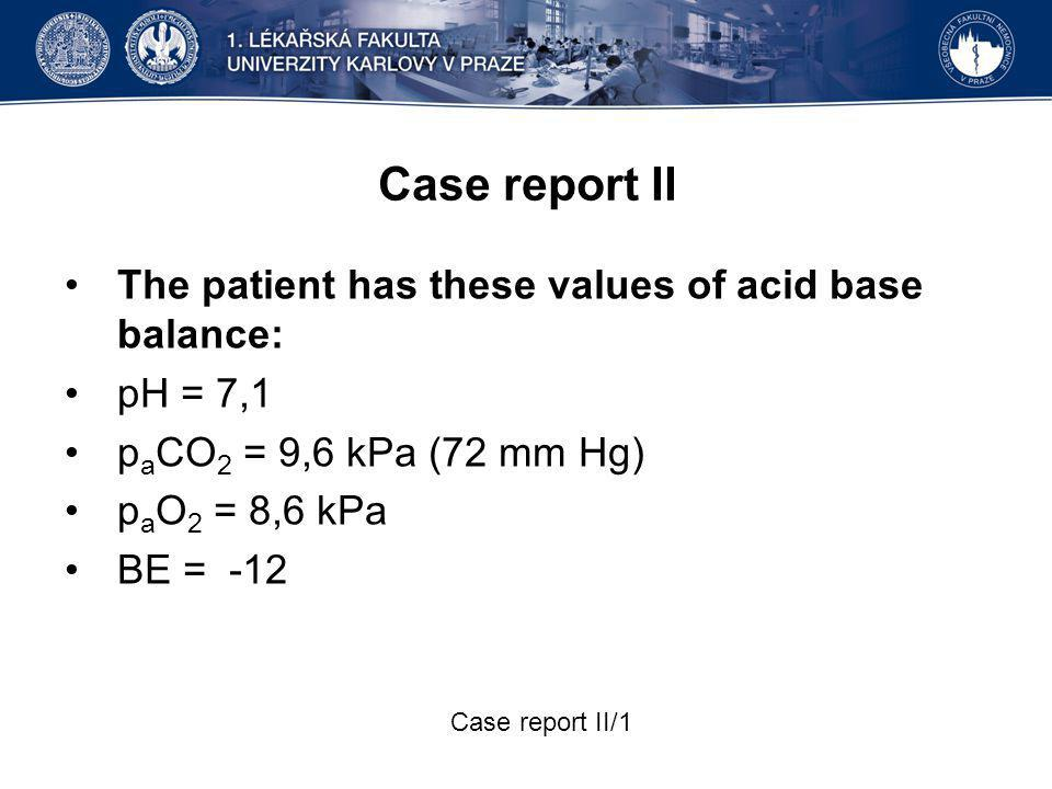 Case report II The patient has these values of acid base balance: pH = 7,1 p a CO 2 = 9,6 kPa (72 mm Hg) p a O 2 = 8,6 kPa BE = -12 Case report II/1