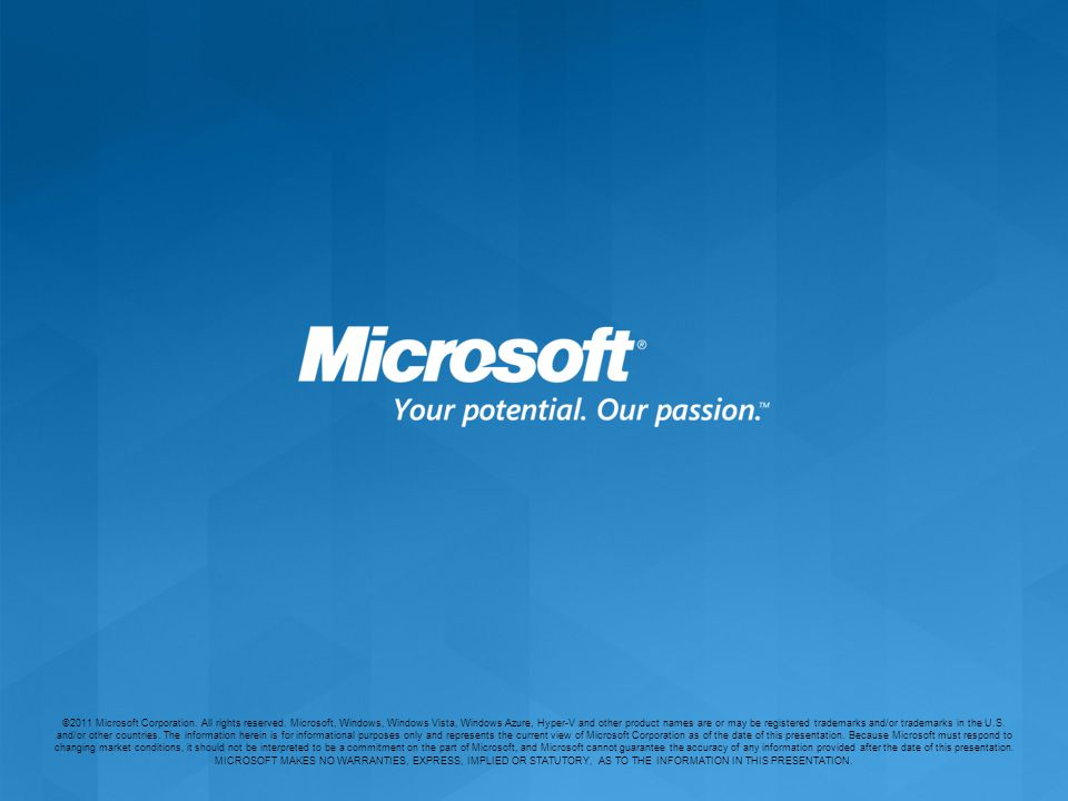 ©2011 Microsoft Corporation. All rights reserved.