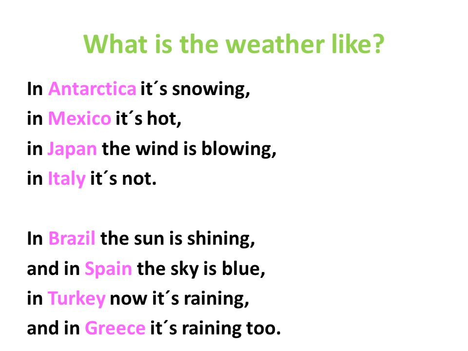 What is the weather like.