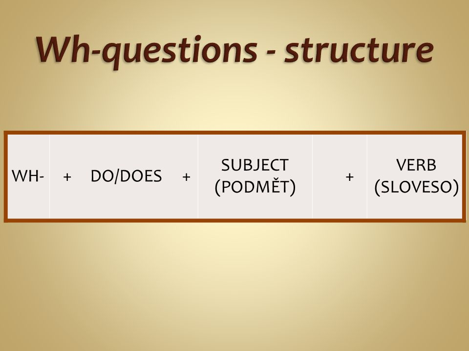 WH- +DO/DOES + SUBJECT (PODMĚT) + VERB (SLOVESO)