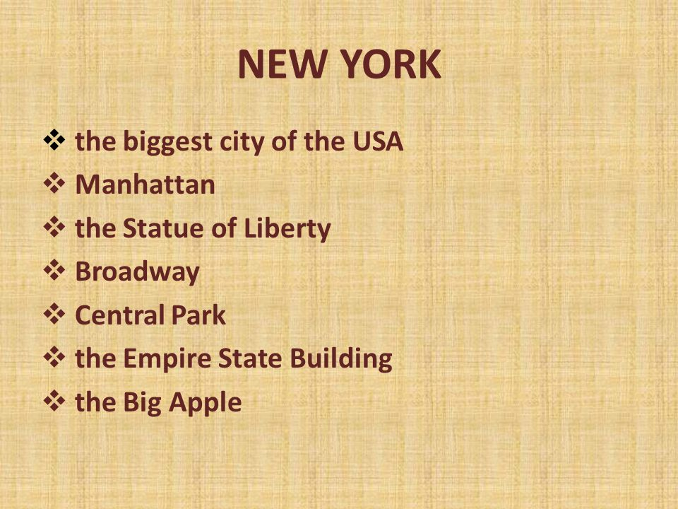NEW YORK  the biggest city of the USA  Manhattan  the Statue of Liberty  Broadway  Central Park  the Empire State Building  the Big Apple