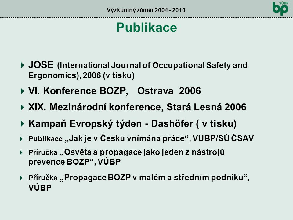 Výzkumný záměr 2004 - 2010 Publikace  JOSE (International Journal of Occupational Safety and Ergonomics), 2006 (v tisku)  VI.