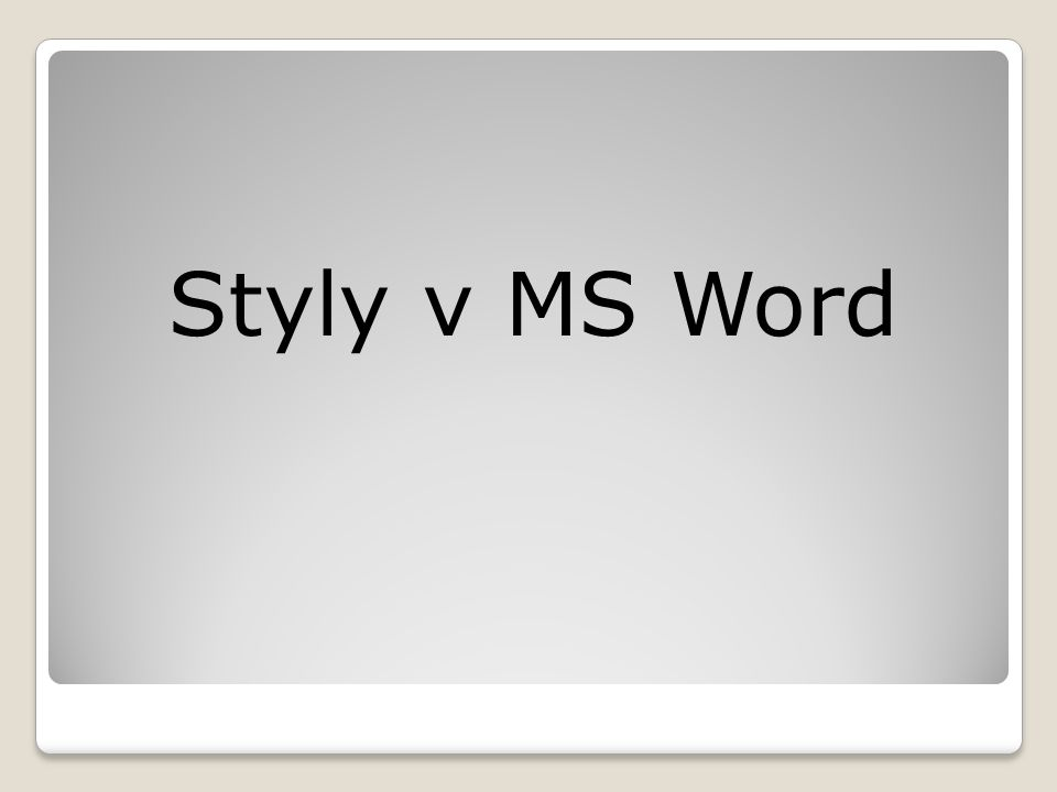 Styly v MS Word