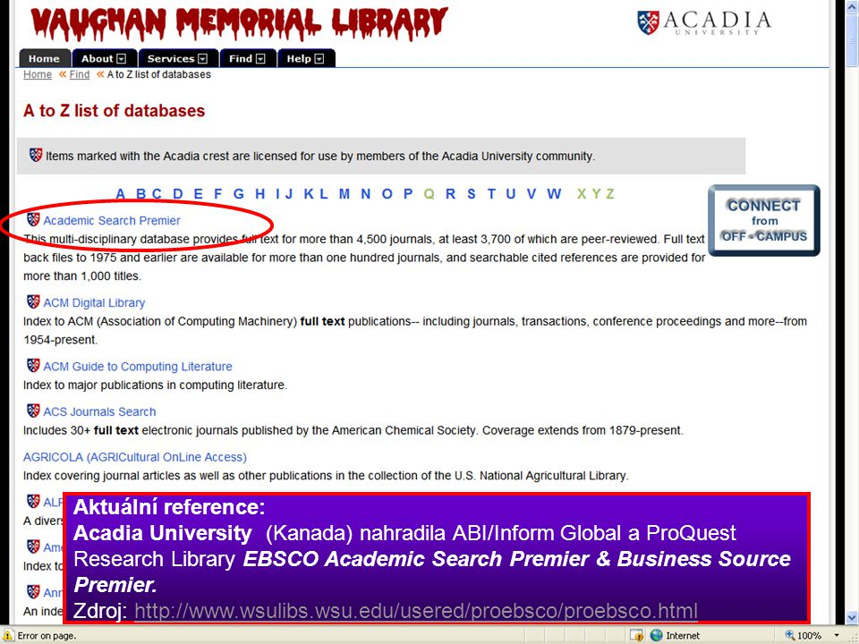 Aktuální reference: Acadia University (Kanada) nahradila ABI/Inform Global a ProQuest Research Library EBSCO Academic Search Premier & Business Source Premier.